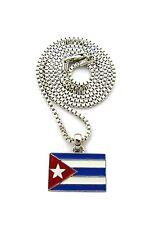 """NEW CUBA FLAG PENDANT &2mm/24"""" BOX CHAIN HIP HOP NECKLACE - RC1889"""