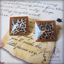 Retro Leopard Print Glitter Effect Square Mosaic Disc Stud Earrings.