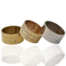 Anelli a fascia mm 10 in argento 925 con diamanti naturali e scritta love is...