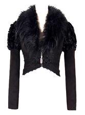 Manteau noir, col en fourrure, broderies, laçages, manches bouffant Devil Fashio