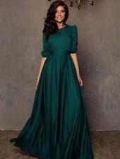 Indian Western Style Elegant Green Dress Pakistani Designer Ethnic Evening Gowns