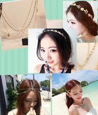 Boho Punk Hair Crown Cuff Headband Headwrap Headdress Tassel Chains Gothic Gift