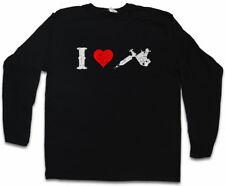 I Love Tattoo Gun Logo Manica lunga T-shirt Tattoo Artist Machine tätowierer