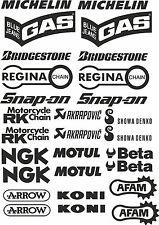 kit 28 adhesivos Pegatinas STICKER sponsor técnicos motocicleta ngk akrapovic
