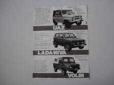 advertising Pubblicità 1987 UAZ - LADA NIVA - VOLIN
