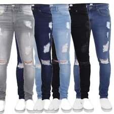 ZE Enzo Da Uomo Super Skinny Elasticizzato Fashion Designer Branded Jeans Strappati