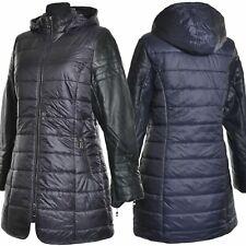 Wintermantel Daunen Warm Jacke Mantel Blau Schwarz Kapuze Leder 40 42 44