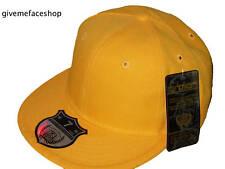 Brand new Ethos plain yellow flat peak caps, fitted baseball brim hats unisex