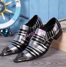 Formal Mens Pointy Metal Toe Leather Dress Wedding Shoes Stripe Nightclub Party