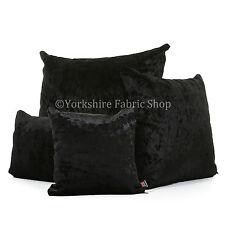 De Lujo Terciopelo Aplastado NUEVO negro tela tapa & Relleno Cojines Británico