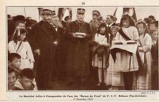 62 BETHUNE MARECHAL JOFFRE INAUGURATION BORNES DU FRONT DU T.C.F IMAGE 1931