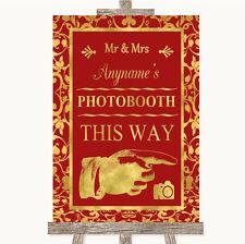 Rojo y oro Photobooth de esta manera derecho Personalizado De Boda Letrero