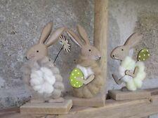 Holz Hase Dekoration Ostern  Filz Wolle Blume Ei Tischdeko Fensterdeko  Figur