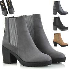 Mujer Botas Chelsea Elástico Escudete Cremallera Plataforma Bloque Talón Tobillo Zapatos De Las Señoras