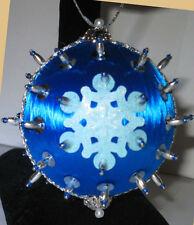 """Blue Ice"" Kit makes 2 Ornaments Christmas Sequins satin ball"
