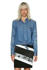 Desigual Bleu Denim Laila shirt italien en broderies XS-XXL UK 8-18 RRP? 84