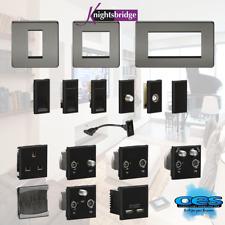 BLACK NICKEL BLACK EURO DATA MODULES USB CAT5 HDMI CAT6 TV SAT BRUSH DIPLEX