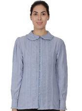 Plus Size Chambray Cotton Peter Pan Collar Lace Blouse | Cotton Lane