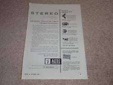 Altec 831a, 811b Horn, 803a, 800e, 802d SPeaker Ad,1958