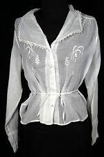Plus Talla 46 Antiguo Vintage Estilo Eduardiano Era algodón blanco bordado blusa