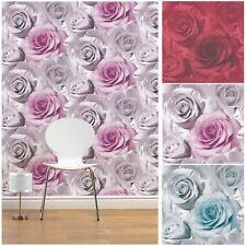 Muriva Madison Rose Wallpaper – feature designer wallpaper – Rosa, Azul Y Rojo