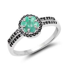 0.72ct Genuine Emerald & Black Spinel Wedding Bridal Ring in 925 Sterling Silver