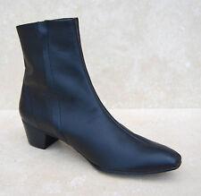 Mens Retro Black Leather Lennon Chelsea Beat Beatle Zip Boots with Cuban Heel