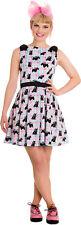Hell Bunny SCOTTIE Dog CHECK Karo BOW Mini DRESS / Kleid Rockabilly