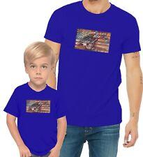 Retro Motorcycle Racing US Flag Adults Mans & Womens & Kids & Boy & Girl T-Shirt