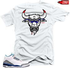 "Shirt to match  Air Jordan Retro 3 True Blue Sneakers ""The Bull"" White Tee"