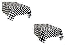 2pk Checkered Plastic Table Cover Disposable Reusable Picnic Race Car Theme