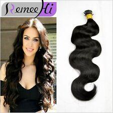 Stick hair body wavy hair 100% remy hair I tip Wavy human hair extensions 1.0g/s