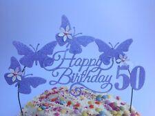Lilac Swirly Birthday Cake Decoration Glitter Butterfly Topper Arch light purple