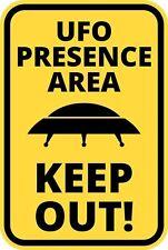 FUNNY Cartello Di Avvertimento Pericolo ALIENO UFO presenza tenere fuori area Autoadesivo Autoadesivo