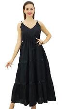 Bimba Black undress Summer Boho Long Maxi Drawstring Waist Spaghetti Strap Dress