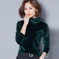 Lady Velvet Turtle Neck Slim Long Sleeves Shirt Pleuche Pullover Top Blouse Chic