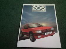 MINT 1987 Model PEUGEOT 205 GTi 1.6 - 8/86 UK 16 PAGE COLOUR BROCHURE