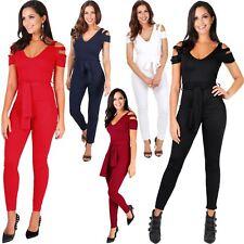 KRISP Women's Fashion Off Shoulder Tie Belted Cut Out Jumpsuit Romper Size 4-12