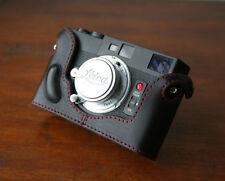 Mr.Zhou Black Leather Half Case Red Stitch for Minolta CLE Camera Leica M mount