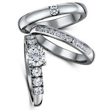 Stunning Triple Titanium CZ Bridal Set Engagement Eternity and Single Stone ring