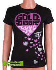 "Golddigga Black & Pink Glitter & Sequin Heart ""Love It"" Fitted T Shirt Top  BNWT"