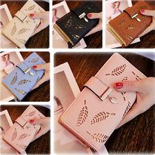 Women Leather Leaves Wallet Long Purse Card Phone Holder Clutch Large Pocket