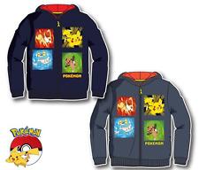 New boys licensed Pokemon sweatshirt outdoor hoodie zip to front navy and grey