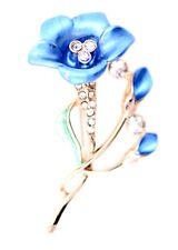 Art Deco style gold enamel phoenix bird / Morning glory flower brooch bag pin