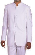 Men's 2 Piece Mandarin Collar Nehru Church Suit Solid 5905 White, Black