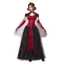 Womens Dark Gothic Victorian Vampire Queen Halloween Red Costume Dress S M L XL