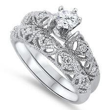 Sterling Silver .925 CZ Vintage Filigree Engagement Bridal Wedding Ring Set 5-10