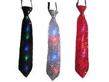 LED Krawatte Fliege Pailletten blinkend Rot Silber Schwarz Party