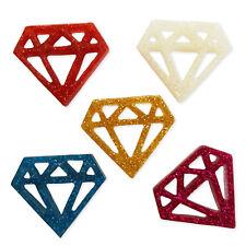 5pcs Geometric Diamond Resin Glitter Flatback Cabochons Embellishment Decoden