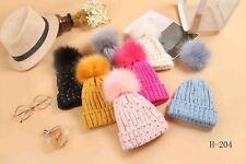 Kids Baby Winter Warm Knit Beanie Diamante Hat Girls Faux Fur Pom BobbleNew Cap